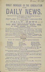 Advert for the Daily News, newspaper